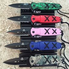 5 PC LOTDealers Assorted Spring Assisted Open Pocket Knife Combat with cords -W