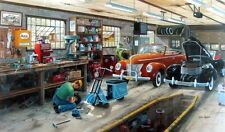 """Forty and a Cord By Ken Zylla Old Car and Scooter Shop Print SN   30"""" x 18"""""""