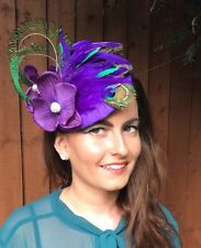 PURPLE GREEN FLOWER PEACOCK HAT HEADPIECE FASCINATOR VINTAGE WEDDING RACES RETRO