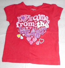 "Faded Glory ""Love Comes From the Heart"" Girls Red Valentines T-Shirt - 18 Months"