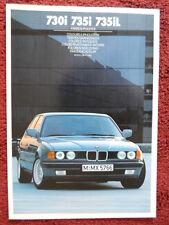 BMW 7 Serie 1986 1987 COLORI E RIVESTIMENTI BROCHURE-euro sui mercati Inc INGLESE