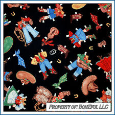 BonEful Fabric FQ Cotton Quilt VTG Cow*Boy Girl Dress Horse Guitar Lg Paper Doll