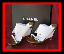 NIB White CHANEL Platform Wedge Heel Shoes size 39/8.5-9 Super Sexy Pearl front