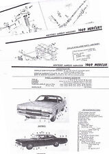 1969 MERCURY MONTEREY MARQUIS MARAUDER 69 PARTS LIST FRAME CRASH SHEET MRE