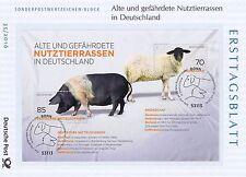 BRD 2016: Rhönschaf und Sattelschwein Ersttagsblatt Block 81! Bonn-Stempel! 1610