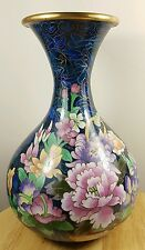 Cloisonne Vase Enamel Floral Design Brass Royal Blue