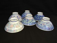 Antique Chinese Rice Bowl set of 6   Signed Mark - Underglaze Blue