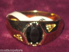 MENS GENUINE ONYX & DIAMOND & GOLD RING JEWELRY SZ 7