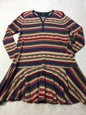 NWT LRL Woman 2X Ralph Lauren Southwest Stripe Faux Suede Trim Thermal Dress