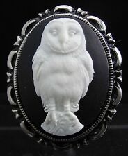 White Barn Owl Cameo Brooch Pin
