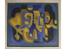 Hugo Barthel (1918): composition abstraite en couleurs vives, 1961
