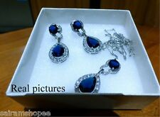 American Diam SWAROVSKI Elements Crystal Zircon Pendant, Earring Sets ROYAL BLUE