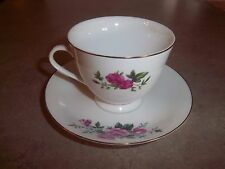 Rose Pattern Tea Cup & Saucer Gold Trim Bottom Made in China English & Chinese