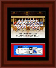 1980 USA Olympic Hockey Team Matted Photo Display 11X14 Game Ticket Miracle Ice