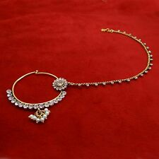 Indian Bridal Nath Ethnic CZ Stone Nose Chain Ring Wedding  Accessory Jewelry