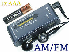 AM FM mini Portable Pocket Radio Headphone 4 Battery 1x AAA R3