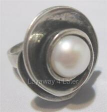 "Silpada ""Lily Pearl"" Sterling Silver Swirl Pearl Size 5 Artisan Ring R2121"