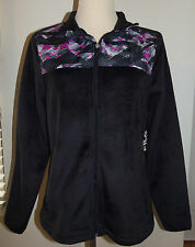 New Fila Sport Small S Athletic Jacket Black/Pink Fleece Faux Fur Full Zip $50