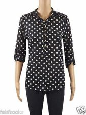 NEW WHITE STUFF NAVY BLUE LADIES POLKA DOT TUNIC VINTAGE  BLOUSE TOP SIZE 8