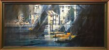TED DYER (1940) LARGE CORNISH OIL PAINTING - POLPERRO HARBOUR & BOATS - SIGNED