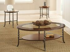 Coffee Table Set End Tables Metal Wood Glass Top Rustic Contemporary Furniture