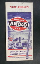 1953 New Jersey  road  map Amoco  gas oil  metro New York City