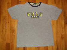 Vtg POLO Ralph Lauren Spell Out PRL Ringer Gray Cotton T Shirt Sz S