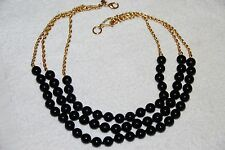 NECKLACE WOMEN'S COSTUME JEWELRY BRAND NEW BLACK BEADS WITH GOLD CHAINS 3 STRAND