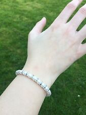 White Glass Pearl AB Spacer Bead Bracelet Bridal, Bridesmaids Beach Party Prom
