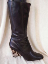 SERGIO ROSSI SHOES BOOTS Brown zebra wedge heel 9.5 39.5