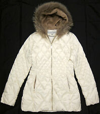 LAUNDRY by Shelli Segal quilted long down jacket with fur trim hood sz M
