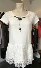 TWIN SET SIMONA BARBIERI OFF WHITE AND BLACK BEADED TUNIC TOP XS, S or M £145