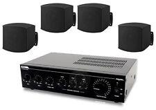 Sistema di filodiffusione kit audio 4 diffusori x MURO neri e amplificatore PA