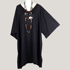 MEGA TUNIC  SUPER SIZE ~ NEW WOMENS SIMPLE PLAIN BLACK KAFTAN TOP PLUS 30 32 34