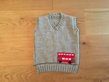 New Hand Knitted Boys Grey Tank Top With Red Bus Size 12-18 Months