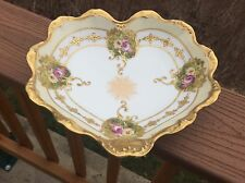 Limoges Bowl Heart Shaped Pink & Yellow Roses Coiffe / Blakeman & Henderson 10""