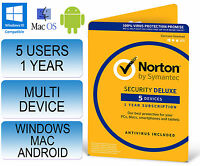 Norton Security 3.0 Deluxe Multi Device 5 Users 1 Year 2015 & 2016 Not 2.0 / 360