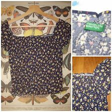 VINTAGE 80's 90's BENETTON floral off the shoulder shirred gypsy top smock 8 10