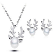 Cute Reindeer Antlers Pearl Chain Pendant Necklace Beauty Deer Christmas Present