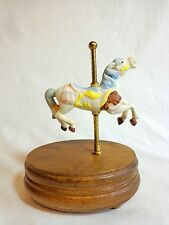 CAROUSEL HORSE MUSIC BOX Plays IT'S A SMALL WORLD with Movement Ceramic Wood