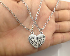Best Friends MOOD Heart Necklace Pendant Set of 2pcs necklaces  silver BFF