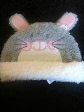 BNWT Girls Cute Pink Grey Bunny Rabbit Fur Hat With Ears Age 12-18 Months