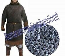 MILD STEEL LARGE BLACK FLAT RIVETED LONG SLEEVES HAUBERK CHAIN MAIL SHIRT