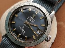 Vintage Tressa World Time Diver w/Pristine Blue Dial,Golden Patina FOR REPAIR