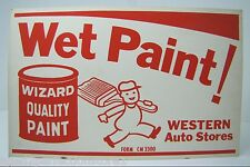 Old Western Auto Stores Wet Paint! Sign Wizard Quality Paint painter with brush