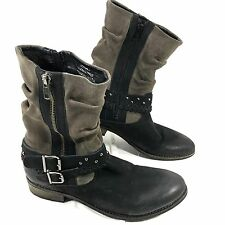 Matisse OUTBACK Belted studs Boots Brown black Sz 7.5 M