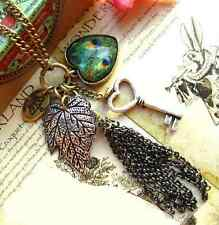 Women Fashion Vintage Peacock Feather Leaves Big Heart Key Tassel Retro Necklace