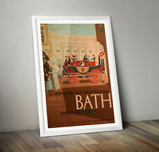 Vintage Railway Travel Poster - Bath New Steam Carriage 1828- A4