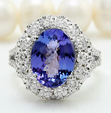 5.91CTW Natural Blue Tanzanite and DIAMOND in 14K Solid White Gold Women Ring