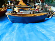Wood canoe miniature, Blue. Perfect scale for Dungeons & Dragons. RPG